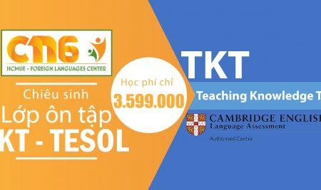 Thời gian đăng ký khóa luyên thi TKT – TESOL tháng 4/2018