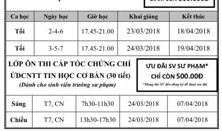 TKB Tin học Khóa 14 (03/2018)