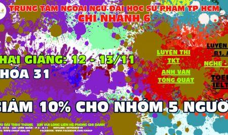 Thời khóa biểu tiếng Anh khóa 31 tại Chi Nhánh 6 – TTNN – Đại học Sư phạm Tp.HCM
